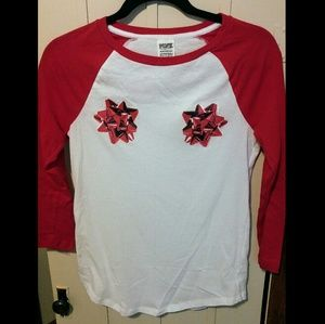 Victoria's Secret PINK Christmas Ribbon Tee